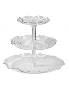 Clear 3-Tiered Fluted Tray Set